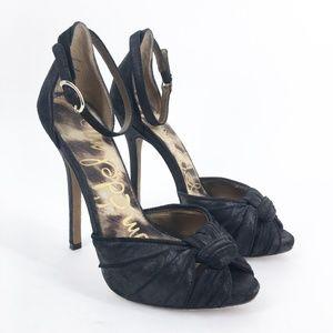 SAM EDELMAN Sylvie Black Leather Sandal Size 6.5